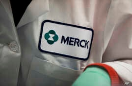 FILE - In this Feb. 28, 2013 file photo, a Merck logo is placed on scientist's lab coat in West Point, Pa.