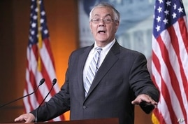 Rep. Barney Frank, D-Mass. gestures during his news conference on his retirement on Capitol Hill in Washington, Nov. 29, 2011 file photo..