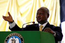 FILE - Ugandan President Yoweri Kaguta Museveni delivers a speech during the launch of the National Dialogue committee in Juba, South Sudan, May 22, 2017