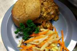 A sloppy Joe and jicama apple salad meal make up the winning student chef entry in the Iron Chef School Lunchroom competition.