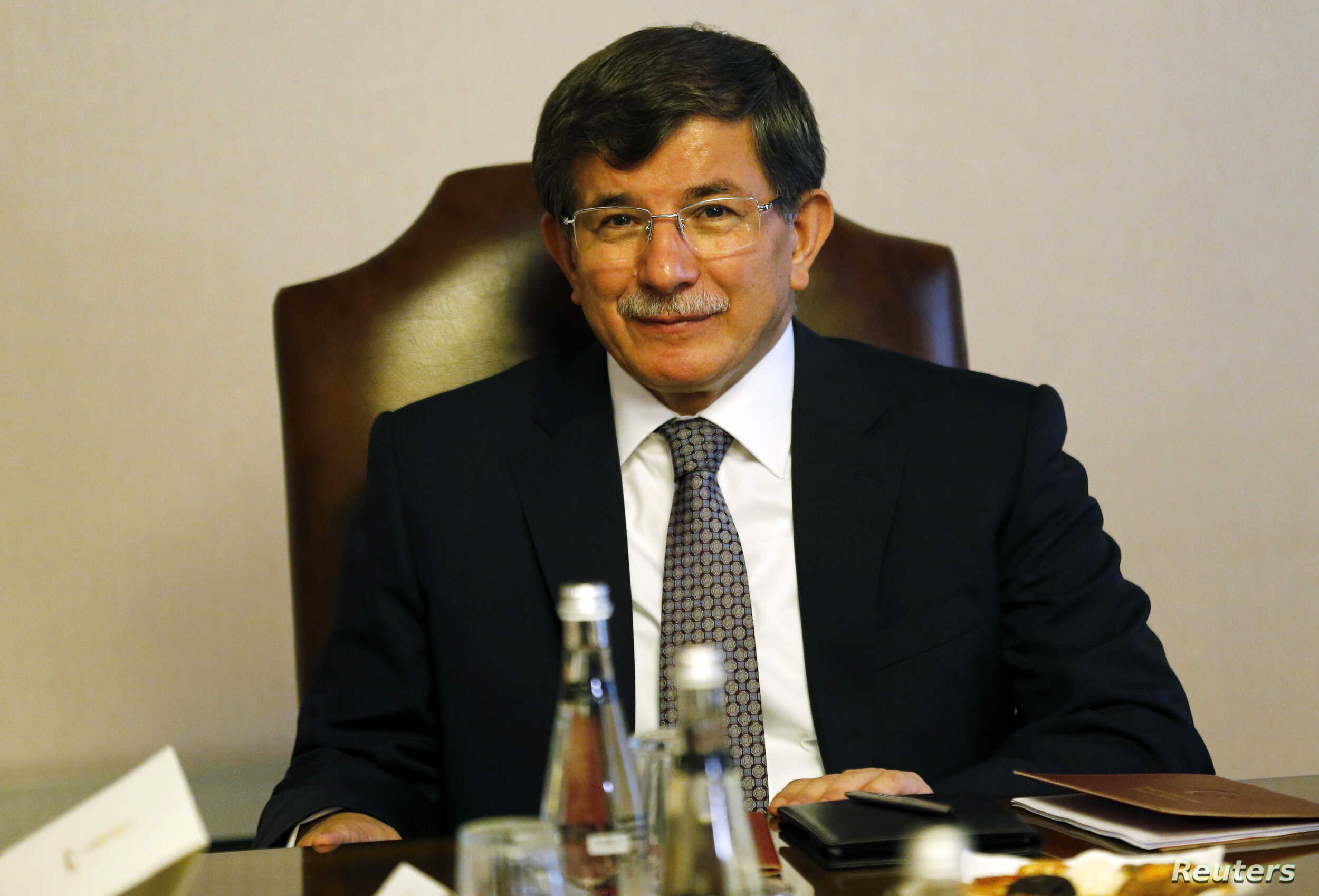 Turkey's Foreign Minister Ahmet Davutoglu attends a meeting in Ankara, Turkey, Aug. 20, 2014.