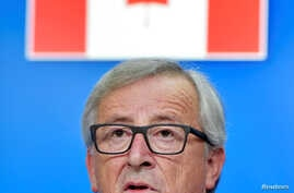 European Commission President Jean-Claude Juncker holds a news conference after signing the Comprehensive Economic and Trade Agreement (CETA) at the European Council in Brussels, Belgium, Oct. 30, 2016.