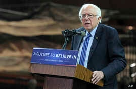 "FILE - Bernie Sanders attends the Bernie Sanders' ""A Future to Believe In"" Rally in New Jersey."
