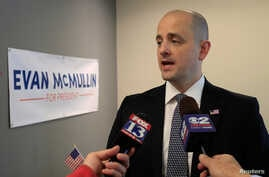 Third party candidate Evan McMullin, an independent, talks to the press as he campaigns in Salt Lake City, Utah, Oct. 12, 2016.