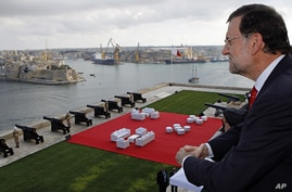 Spain's Prime Minister Mariano Rajoy at the Mediterranean summit of southern European and North African countries, in Valletta, Malta, Oct. 5, 2012.