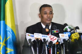 Ethiopia's Attorney General Birhanu Tsegaye speaks about the corruption and human rights violation reports in the country, following the detention of 63 military and intelligence officers in Addis Ababa, Nov. 12, 2018.
