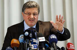 Salim al-Muslat, spokesman for the High Negotiations Committee (HNC), the main Syrian opposition group at the Geneva peace talks, attends a news conference in Geneva, Switzerland, Jan. 31, 2016.