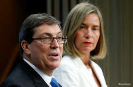 Cuba's Foreign Minister Bruno Rodriguez and European Union foreign policy chief Federica Mogherini address a joint news conference after their meeting at the EU Council in Brussels, Belgium, May 15, 2018.