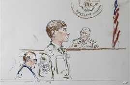 In this courtroom sketch, U.S. Army Cpl. Jeremy Morlock of Wasilla, Alaska, center, is shown at Joint Base Lewis-McChord, Wash. (File Photo)