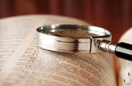 Bible and magnifying glass Spirituality, Discovery, Table, Expertise, Research, Text, Horizontal, Close-up, Book, Magnifying Glass, Examining, Library, Old-fashioned, Open, Religion, Bible, Color Image, Wisdom, Photography