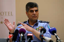 Hazem Attallah, the Palestinian chief of police, gestures during a news conference in the West Bank city of Ramallah November 8, 2017.