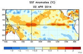 Warm spots are beginning to appear on the surface of the tropical Pacific Ocean near South America. More warm water below the surface suggests El Niño is probably on the way.