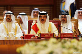 Bahrain's King Hamad (center) attends the Gulf Cooporative Council in Sakhir Palace, Bahrain, Dec. 7, 2016. Hamad presented the  final remarks at the 37th annual summit.