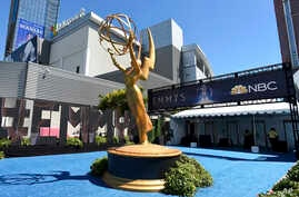 An Emmy statue appears before the 70th Primetime Emmy Awards, Sept. 17, 2018, at the Microsoft Theater in Los Angeles.