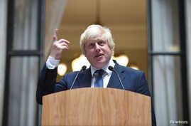 Britain's Foreign Secretary Boris Johnson addresses staff inside the Foreign Office in London, July 14, 2016.