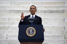 """U.S. President Barack Obama speaks during a ceremony marking the 50th anniversary of Martin Luther King Jr.'s """"I have a dream"""" speech on the steps of the Lincoln Memorial in Washington, Aug. 28, 2013."""