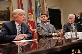 House Speaker Paul Ryan of Wis., center, and Senate Majority Whip John Cornyn, R-Texas, right, listen to President Donald Trump, left, speak during Trump's meeting with House and Senate Leadership in the Roosevelt Room of the White House in Washingto
