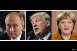 This combination of file photos shows L-R: Russian President Vladimir Putin on October 19, 2016 in Berlin, US President-elect Donald Trump in Sioux City, Iowa on November 6, 2016 and German Chancellor Angela Merkel in Berlin, Dec. 14, 2016.