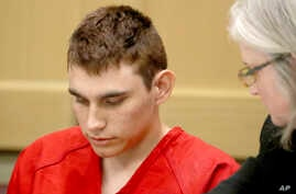 FILE - Nikolas Cruz, accused of killing 17 people at a Florida high school, appears in court for a status hearing in Fort Lauderdale, Fla., Feb. 19, 2018. Cruz was formally charged March 7 with 17 counts of first-degree murder.