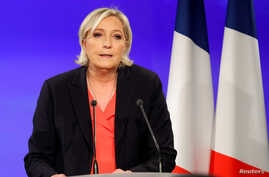 Marine Le Pen, French National Front (FN) political party candidate for French 2017 presidential election, concedes defeat at the Chalet du Lac in the Bois de Vincennes in Paris after the second round of 2017 presidential election, May 7, 2017.