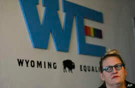"""Sara Burlingame, executive director of the Cheyenne-based LGBTQ advocacy group Wyoming Equality, speaks during an interview in Cheyenne, Wyo., Oct. 9, 2018. """"We're nowhere near done,"""" said Burlingame. The group's work today """"is the same thing that w"""