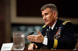 Army Lt. Gen. John Nicholson Jr., testifies on Capitol Hill in Washington, Thursday, Jan. 28, 2016, before the the Senate Armed Services Committee hearing considering his promotion to General,  Commander, Resolute Support.