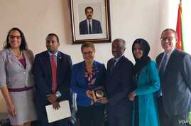 Pictured from left are Chief of Mission Natalie E. Brown,  Rep. Joe Neguse, Rep. Karen Bass, Minister of Foreign Affairs Osman Saleh, Rep. Ilhan Omar and Deputy Chief of Mission Stephen Banks. The members of Congress are the first to visit Eritrea in