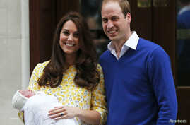 Britain's Prince William and his wife Catherine, Duchess of Cambridge, appear with their baby daughter outside the Lindo Wing of St Mary's Hospital, in London, Britain, May 2, 2015.