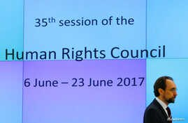 United Nations High Commissioner for Human Rights Zeid Ra'ad Al Hussein attends the Human Rights Council in Geneva, Switzerland, June 6, 2017.