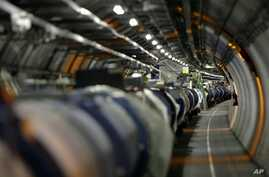 View of the LHC (large hadron collider) in its tunnel at CERN (European particle physics laboratory) near Geneva, Switzerland, Thursday, May 31, 2007.