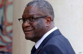 FILE - Nobel Peace Prize 2018 winner Doctor Denis Mukwege of the Democratic Republic of Congo arrives at the Elysee Palace in Paris, France, Oct. 29, 2018.