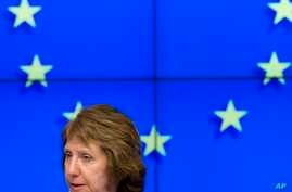 European Union High Representative Catherine Ashton pauses before speaking during a media conference after a meeting of EU foreign ministers in Brussels, Feb. 10, 2014.