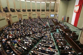 FILE - Poland's parliament, pictured Oct. 6, 2016. A pending bill would give the legislature the power to select 15 of the 25 members of the National Judiciary Council.