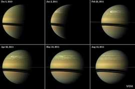 This series of images from NASA's Cassini spacecraft shows