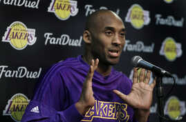 Los Angeles Lakers' Kobe Bryant addresses a media conference prior to an NBA basketball game against the Golden State Warriors, Jan. 14, 2016, in Oakland, California.