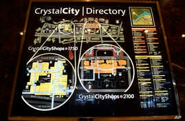 A view of a directory of Crystal City, Va., Tuesday, Nov. 13, 2018. Amazon has announced that it will split its second headquarters between Long Island City in New York and Crystal City in northern Virginia.