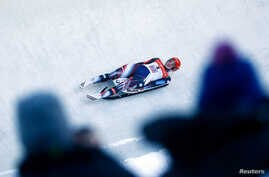 FILE - Natalie Geisenberger of Germany competes in the luge at the women's World Championships in Innsbruck, Austria, Jan. 28, 2017.