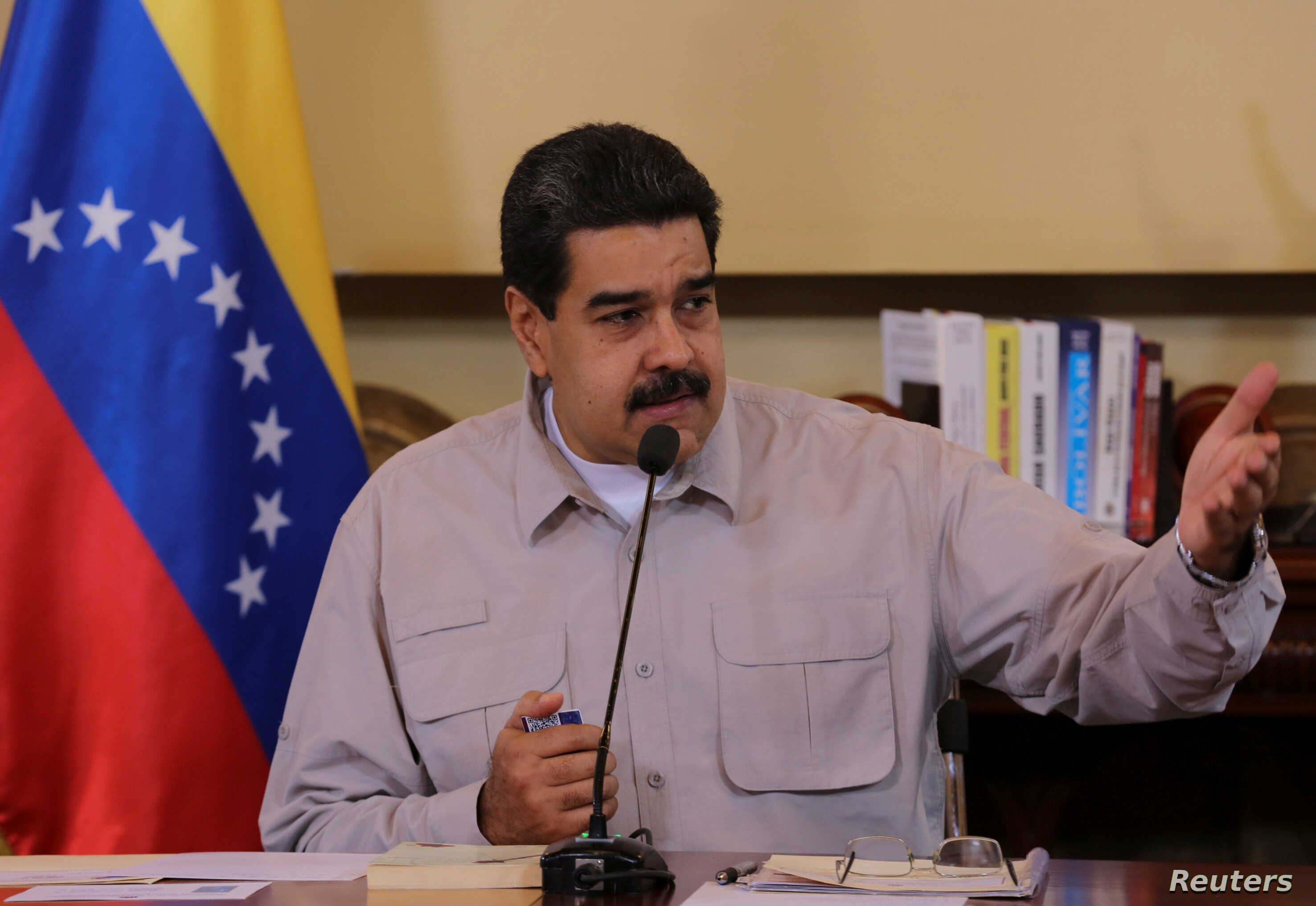 Venezuela's President Nicolas Maduro speaks during a meeting with ministers and pro-government governors in Caracas, Sept. 25, 2017.