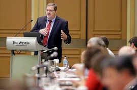Vermont Secretary of State Jim Condos speaks during a voter registration meeting at the National Association of Secretaries of State conference in Indianapolis, July 8, 2017.