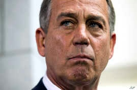 Speaker of the House John Boehner, R- Ohio, pauses during a news conference after a House Republican Conference meeting about the ongoing budget fight on Capitol Hill on Monday, Sept. 30, 2013 in Washington.  (AP Photo/ Evan Vucci)