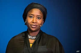 Fatima Shehu, director of the Network of Civil Society Organisations in Borno State (NESCOB) speaks at the Oslo Humanitarian Conference on Nigeria and the Lake Chad Region in Oslo, Norway, Feb. 24, 2017.