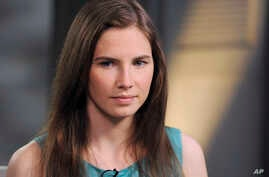 Amanda Knox is shown during the taping of an interview with ABC News' Diane Sawyer in New York, April 9, 2013.