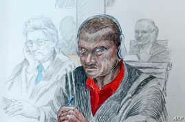 Court sketch made on October 2, 2012 by artist Marco Vaglieri shows Sadi Bugingo, the suspect in the Rwandan Genocide Case.