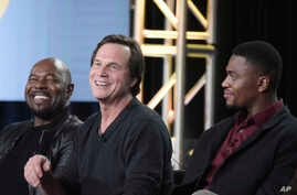 """FILE - Antoine Fuqua, from left, Bill Paxton, Justin Cornwell attend the """"Training Day"""" panel at the CBS portion of the 2017 Winter Television Critics Association press tour,  Jan. 9, 2017, in Pasadena, Calif."""