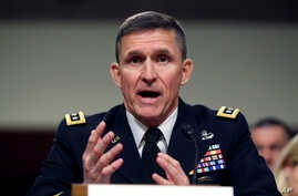 Retired Lieutenant General Michael Flynn, seen in this 2014 file photo, will join Drone Aviation Holding Corp as vice chairman of its board of directors. Flynn has been advising Republican front-runner Donald Trump informally on foreign policy.