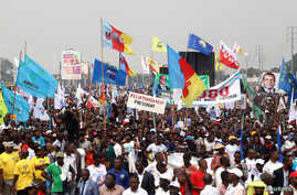 FILE - Supporters of Congolese political parties attend a joint opposition rally in Kinshasa, Democratic Republic of Congo, Sept. 29, 2018.