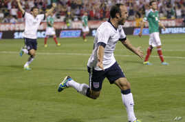 United States' Landon Donovan celebrates his goal against Mexico during the second half of a World Cup qualifying soccer match Sept. 10, 2013, in Columbus, Ohio.