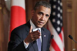 President Barack Obama attends a joint press conference with Japanese Prime Minister Shinzo Abe at the Akasaka State Guest House in Tokyo,  April 24, 2014