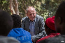 UN Special Representative to the Secretary General and head of UNMISS David Shearer speaks to former child soldiers during their release ceremony in Yambio, South Sudan, on Feb. 7, 2018.