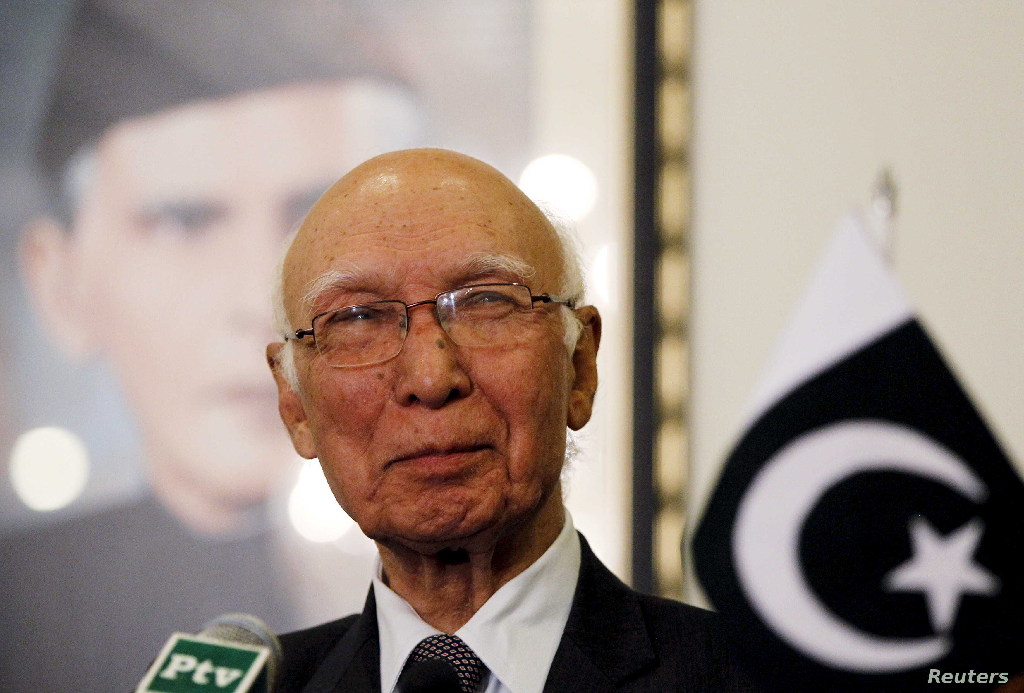 FILE - Adviser to Pakistan's Prime Minister on National Security and Foreign Affairs Sartaj Aziz listens to a question during a news conference with Iranian Foreign Minister Javad Zarif at the Foreign Ministry in Islamabad, April 8, 2015.